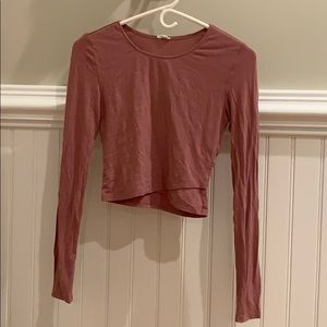 pink/mauve long sleeve, tight fitting- crop top